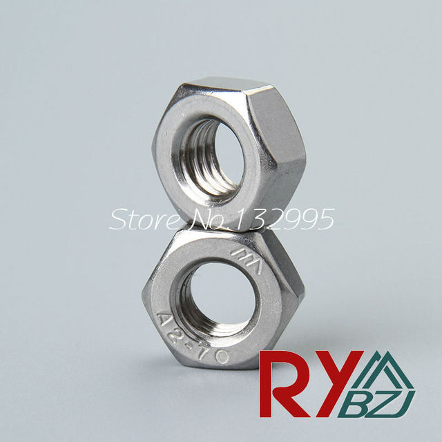 50pcs Lot Stainless Steel Hex Nut Inch Thread UNC 2 56 4 40 6 32 8 10 24 1 20 5 16 18 3 7 14 13