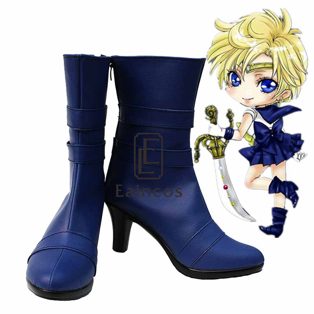 Anime Sailor Moon Tenoh Haruka/Sailor Uranus Cosplay Shoes Blue Boots Custom Made