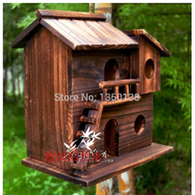 25 25 16 cm wood preservative outdoor birds nest wood for Decoration maison aliexpress