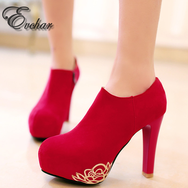ФОТО New Fashion Women Pumps Sexy Round Toe thick High Heels Shoes Woman spring Autumn side Zipper wedding  Pumps Plus Size 30-52