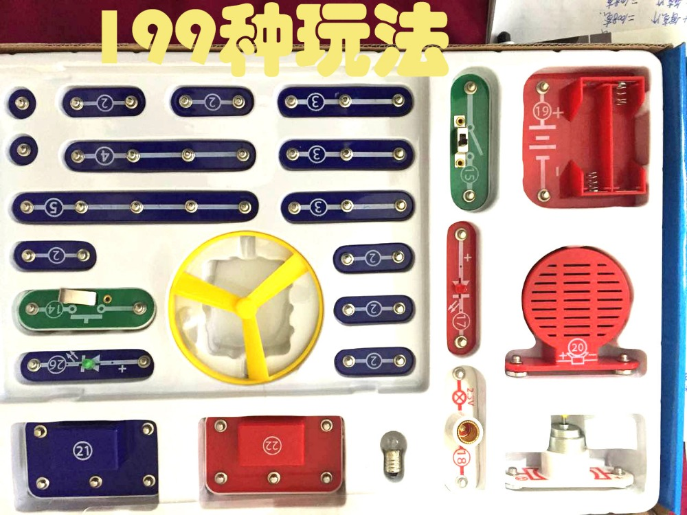 где купить 199 Kinds Creative Compound Mode Snap Circuits Kit Electronic Building Blocks Kits Diy Assembling Children Musical Toys for Kids по лучшей цене
