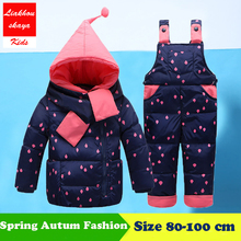 2018New Winter Children's Clothing Set Kids Ski Suit Overalls Baby Girls Down Coat Warm Snowsuits Jackets+Pants 2pcs/set 0-4T