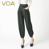 The new Summer 2017 heavy silk harem pants dark green fashion pockets loose pants K6318