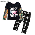 Sun Moon Kids Newbron Baby Boy Clothes Baby Girl Clothing Cotton Children Clothing Set Girls Outfits Tattoo Sleeve T-shirt Pant