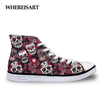 WHEREISART Trendy Sugar Skulls Pattern Women Sneakers Summer Autumn High Top Flats Vulcanize Shoes for Female Leisure Canvas