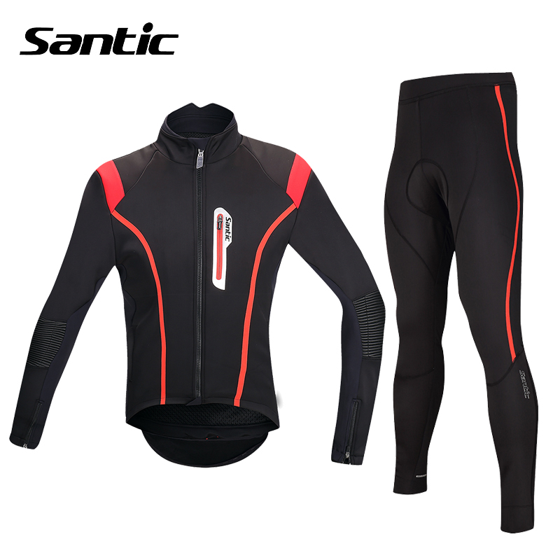 Santic Winter Cycling Jersey Set Windproof Thermal Fleece Cycling Jacket Kit Long Sleeve Mountain Bike Clothing Ropa Ciclismo