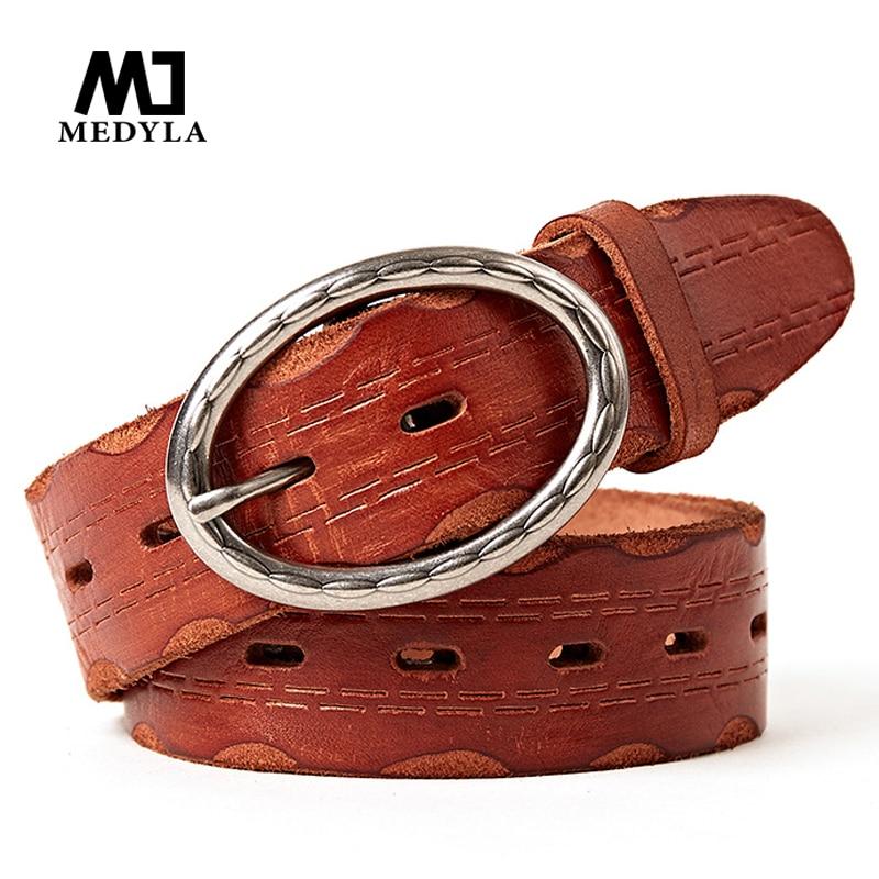 MEDYLA Hot Fashion Heren Riemen Luxe Designer Toplaag Kwaliteit Lederen riem Man Koe Huid Band Jeans Gordel voor Heren