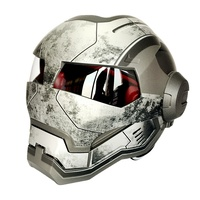Matte Gray War Iron Man Masei 610 Retro Motorcycle Helmet Open Face Casco