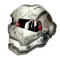 Matte Gray War Iron Man Masei 610 Retro Motorcycle Helmet Open Face Casco