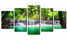 5 pieces / canvas print landscape waterfall in black wall art picture with modern mural module picture framed