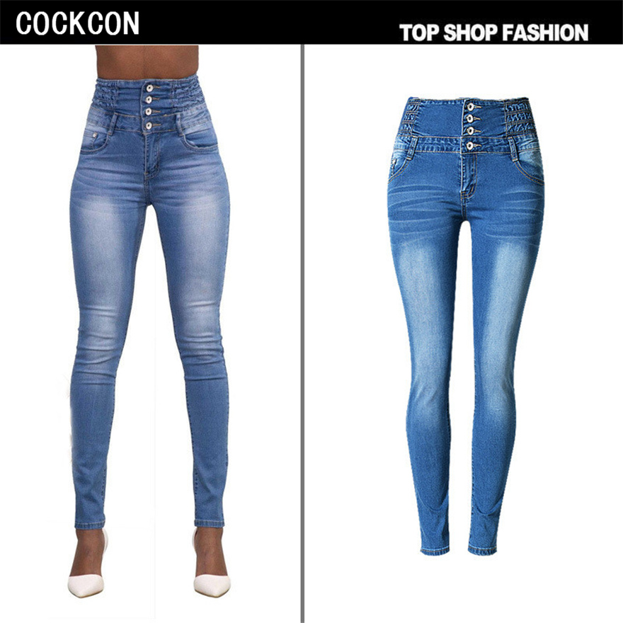 COCKCON High Quality Jeans Women Elastic Jeans Woman Skinny Trousers High Waist Jeans Plus Size Femme
