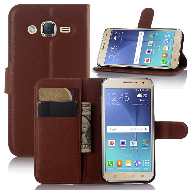 Wallet Flip Leather <font><b>Case</b></font> For <font><b>Samsung</b></font> <font><b>GALAXY</b></font> J2 Duos <font><b>J200</b></font> J200F J200Y J200G J200H phone Leather back Cover <font><b>case</b></font> with Stand Etui> image