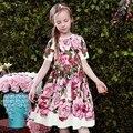 2017 Verano Vestido de la Muchacha de Rose Vestido Estampado De Vestidos Del Banquete de Boda de Princesa Costume For Kids