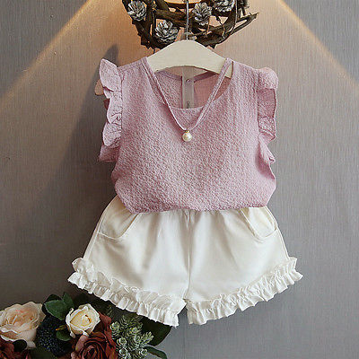 2 pcs summer pullover sleeveless bulk Chiffon Toddler Kids Baby Girls Tops T-shirt+ Short Pants Outfits Casual Clothes 2-7Y 2016 hot selling baby kids girls one piece sleeveless heart dots bib playsuit jumpsuit t shirt pants outfit clothes 2 7y