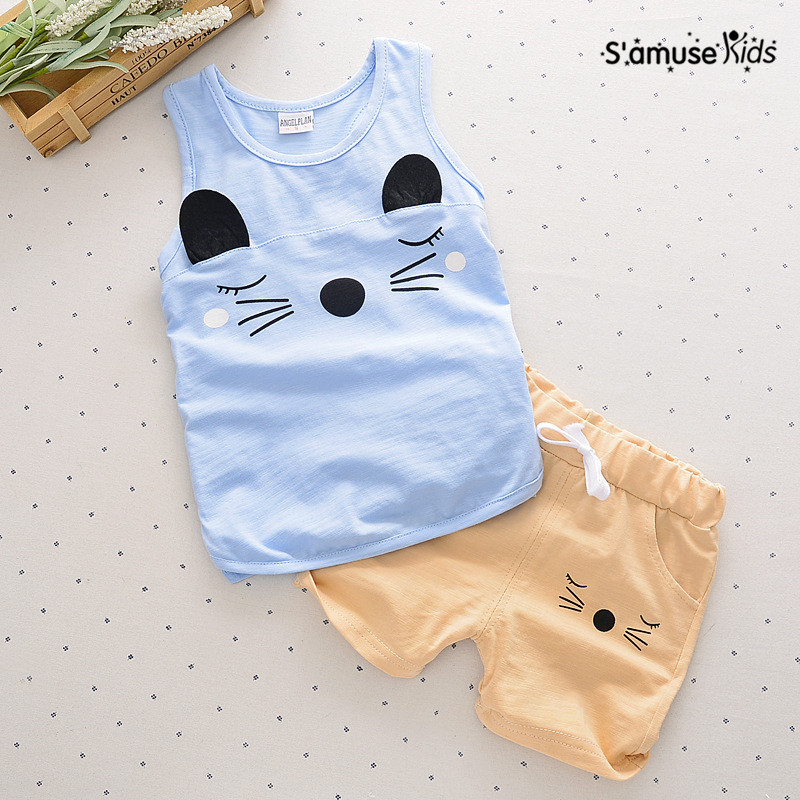 youqi thin summer baby clothing set cotton t shirt pants vest suit baby boys girls clothes 3 6 to 24 months cute brand costumes Baby Boys Clothes Cute Cartoon Cat Kids Clothing Set Cotton Summer Children Sleeveless Vest + Shorts Pants Newborn Toddler