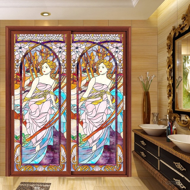 Static Stained Glass Stickers Window Grilles Painted Church Glasses Art Retro Wardrobe Door