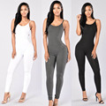 Women Spaghetti Strap Sexy Backless Sleeveless One Pieces Bodycon Bandage Long Pants Solid Summer Jumpsuit 6 Colors S-XL