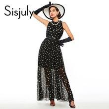 Sisjuly 2016 Fashion Women's polka dots Maxi dress long Casual Summer Beach Chiffon Party Dresses style cheap vestidos de festa