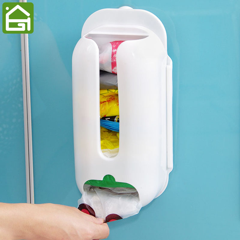 Wall mount plastic carrier bag storage container holder - Plastic bathroom storage containers ...