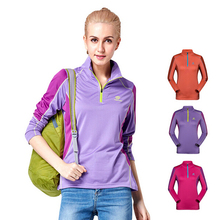 freeshipping Tectop Women's Turn-over Collar Long Sleeve T-shirt Wicking Quick Dry Outdoors Breathable Active T-shirts