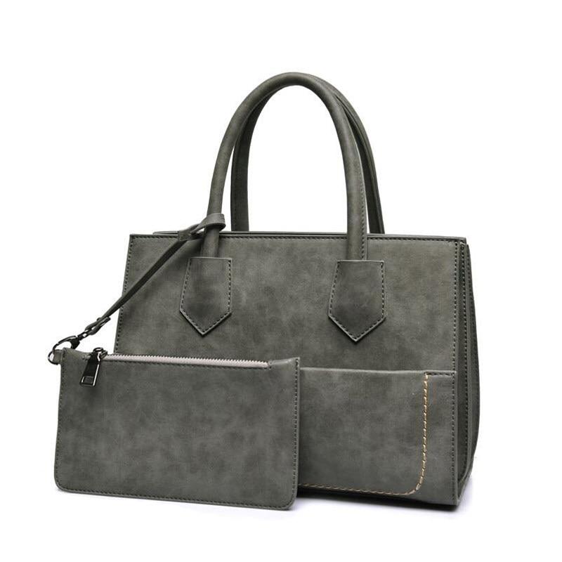Ladies Chic Exquisite Hand Bag Occident Style Retro Nubuck Leather Composite Bag Women Designer Elegant PU