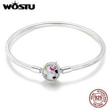 WOSTU High Quality Real 925 Sterling Silver Licorne Charm Bracelet For Women Fit Original Brand DIY Beads Bangle Jewelry CQB083