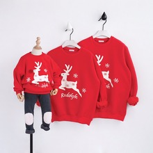 Christmas Sweater Family Look Deer Mommy and Me Clothes Mother Daughter Son Father Hoodies for Girl T-shirt Plus Velvet Outfits