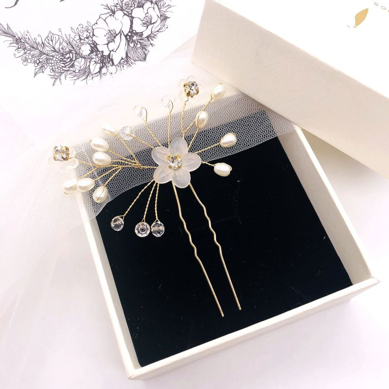 bride hairpins pearl crystal barrette wedding hair accessories tiara comb ornanments hair carab fashion jewelry H003 in Hair Jewelry from Jewelry Accessories
