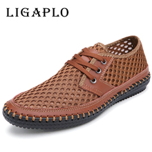 Men's Slat Shoes New Hollow Out Breathable Cowhide 2017 Summer Genuine Leather High Quality Fashion Shoes Men Male Casual Shoe