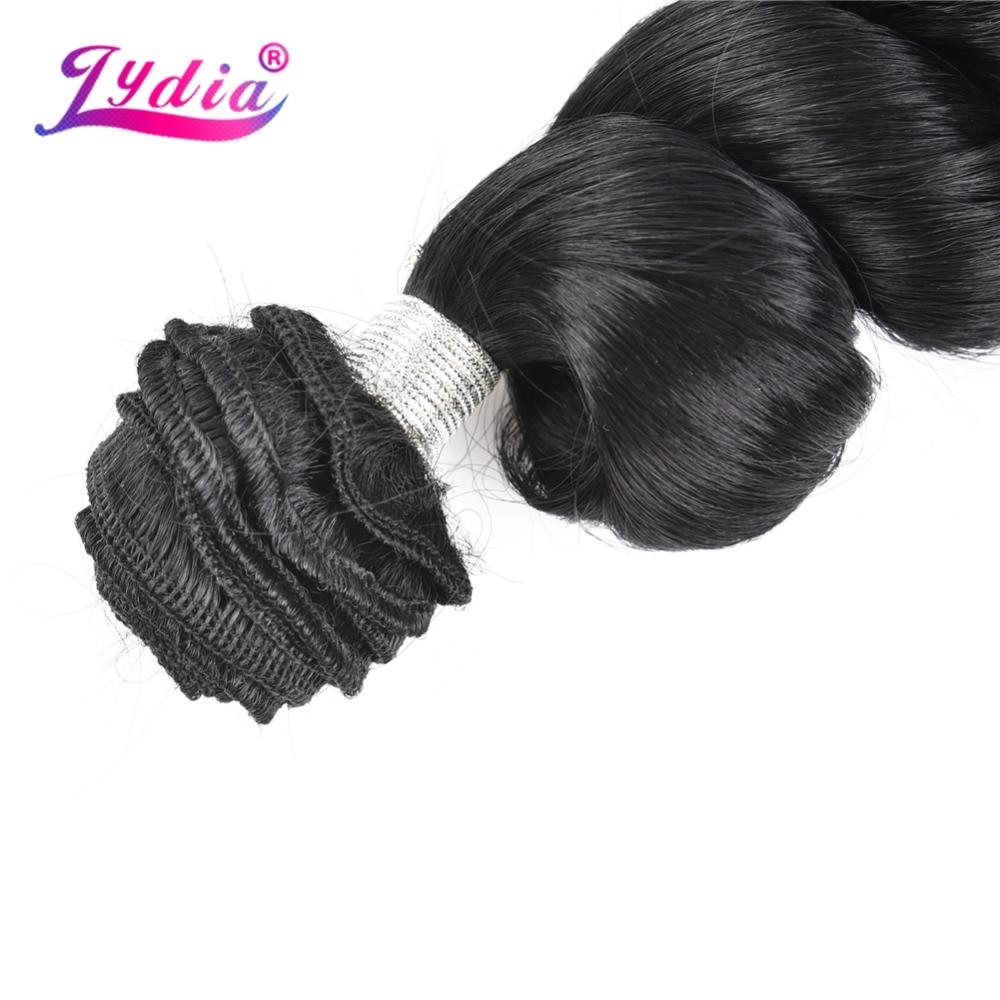 Lydia 1PCS Loose Wave Hair Weaving Nature Black 1B# Hair Weave 18-24 Heat Resistant Synthetic Hair Extensions Bundles 110g/Pcs
