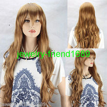 Wholesale heat resistant LY free shipping New wig Cosplay Fashion Gold Women s Curly Long Wig