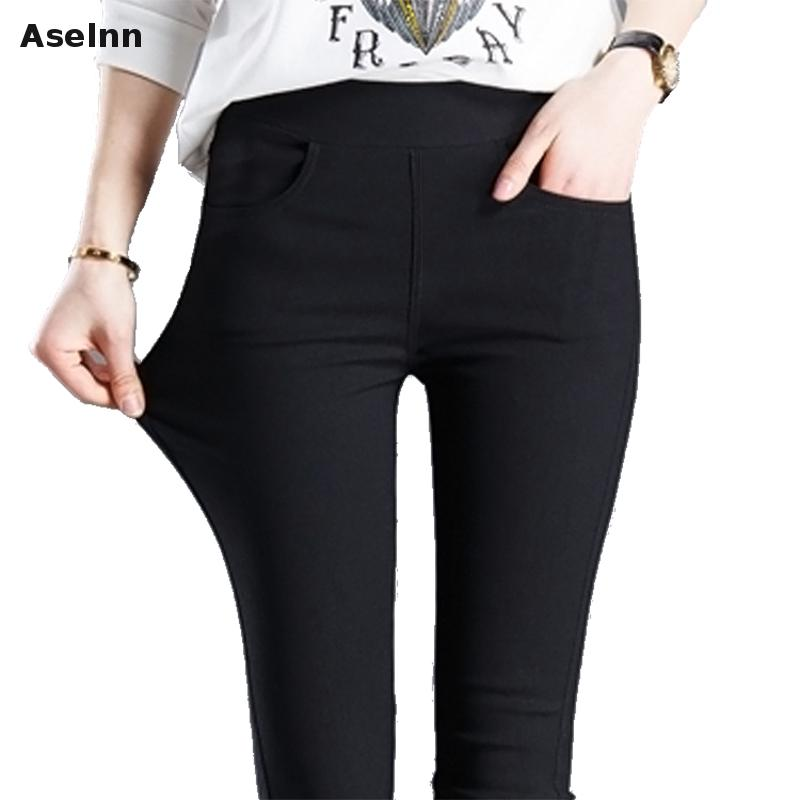 Aselnn 2017 वसंत नई फैशन महिलाओं पेंसिल पैंट आकस्मिक लोचदार कमर पतलून प्लस आकार काले सफेद खिंचाव पैंट