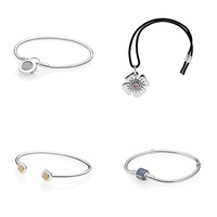 4 Style 925 Sterling Silver Charms Basic Bracelets For Women Flower Round Stopper Bead Basic Chain for Diy Beads Charm