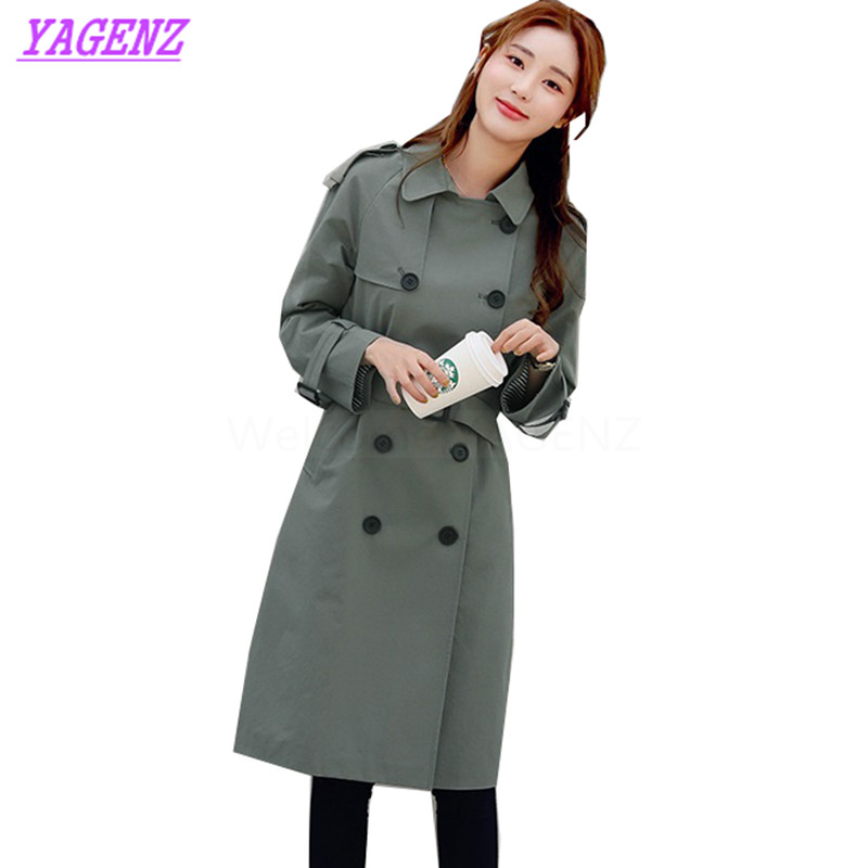 New Spring Autumn Windbreaker Coat Women Korean Solid color Long Trench Coat Young Women Fashion Straight Leisure Overcoat B288