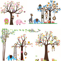 Large Size Cartoon Animal Owl Monkey Tree PVC Wall Stickers For Kids Rooms Boys Girls Children