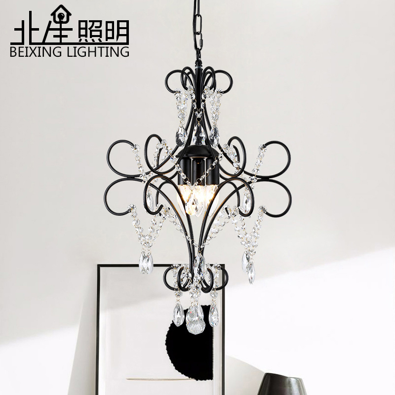 Campo americano luz pingente de cristal preto ferro cabeceira antigo sala jantar corredor droplight Luzes de pendentes     - title=
