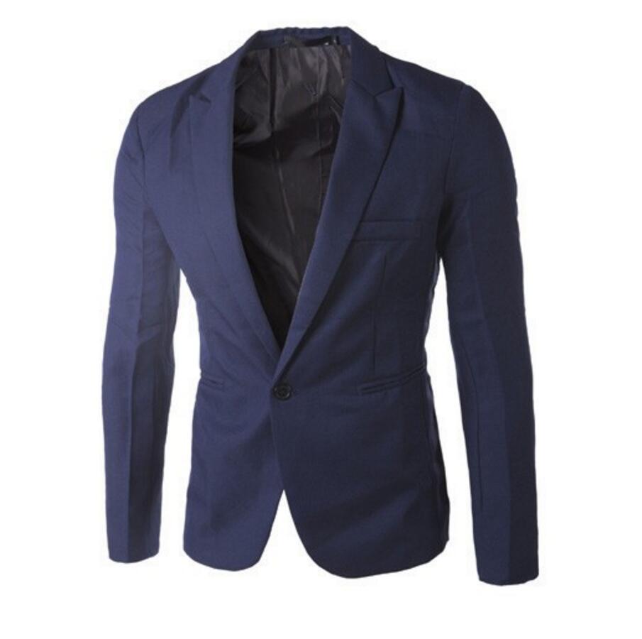 Nieuwe collectie Mannen Pak Blazer Mannen Effen Kleur Modieuze Toevallige Blazer Een Knop Blazer Suits jacket bruidsjonkers jasje - 2
