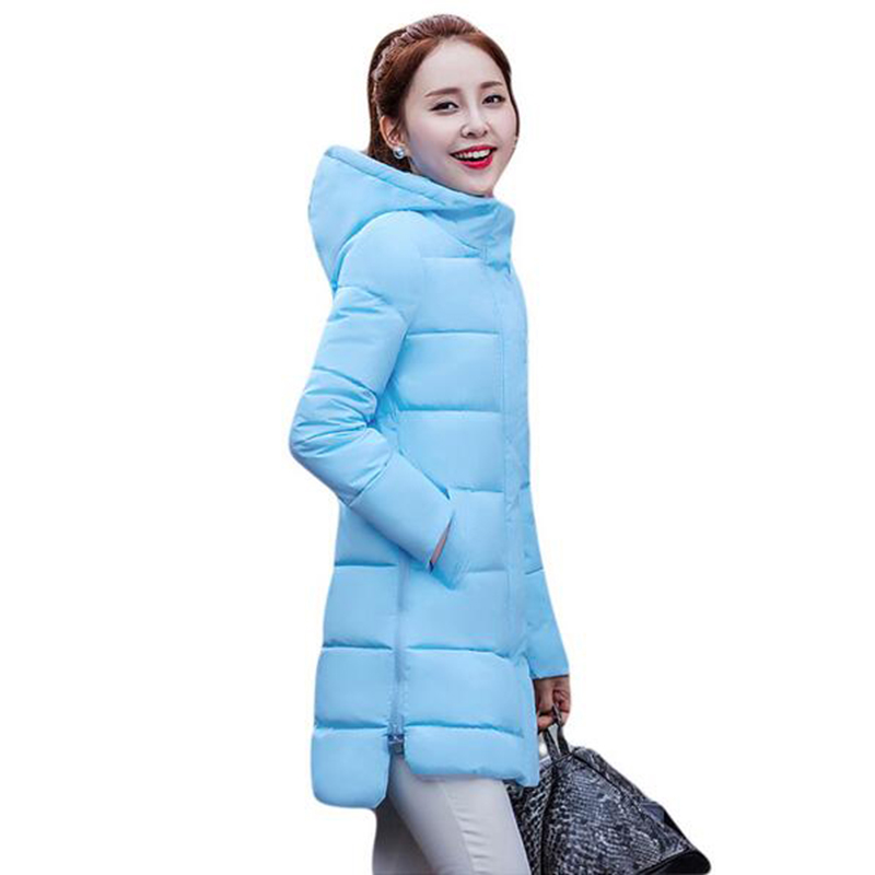 autumn winter jacket hooded down cotton-padded female jacket 2017 new medium long women coat casual plus size outerwear LU430 3 colors l 2xl 2015 new women winter down cotton padded coat female long hooded wide waisted jacket zipper outerwear zs247