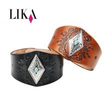 цена на LIKA Wide Leather Cuff Bracelets For Women Men Female Braid Rope Adjustable Bracelet Punk Pulseira Jewelry Bracelet Party Gifts
