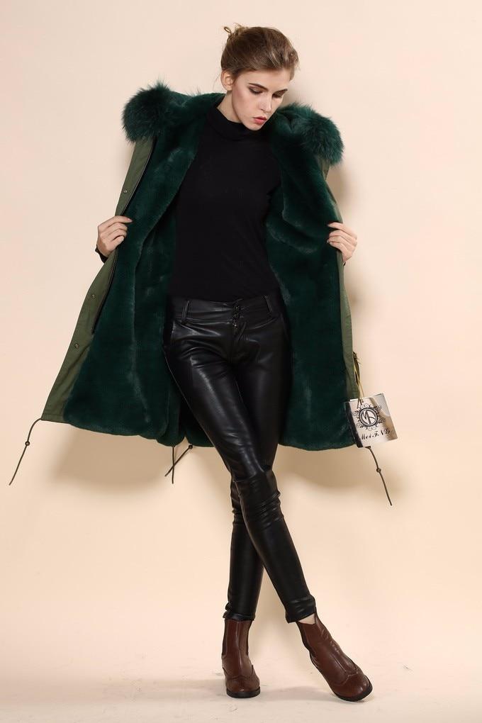 Лидер продаж, Высококачественная женская куртка из чистого хлопка темно-зеленого цвета, пальто с капюшоном из натурального меха енота для дам