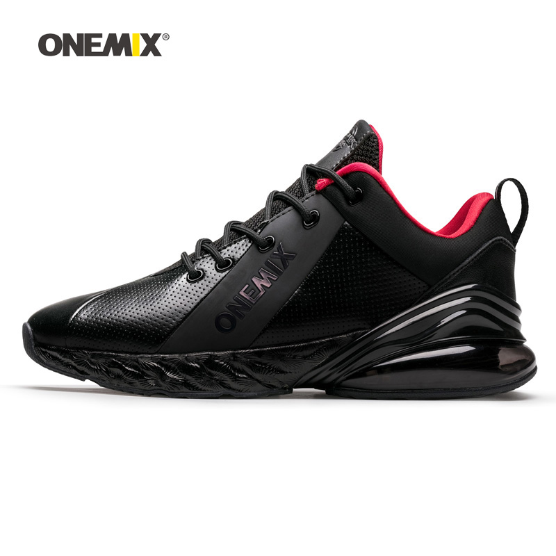 Onemix Men Running Shoes For Women Black Leather Max Gym Yoga Athletic Sneakers Sport Outdoor Jogging