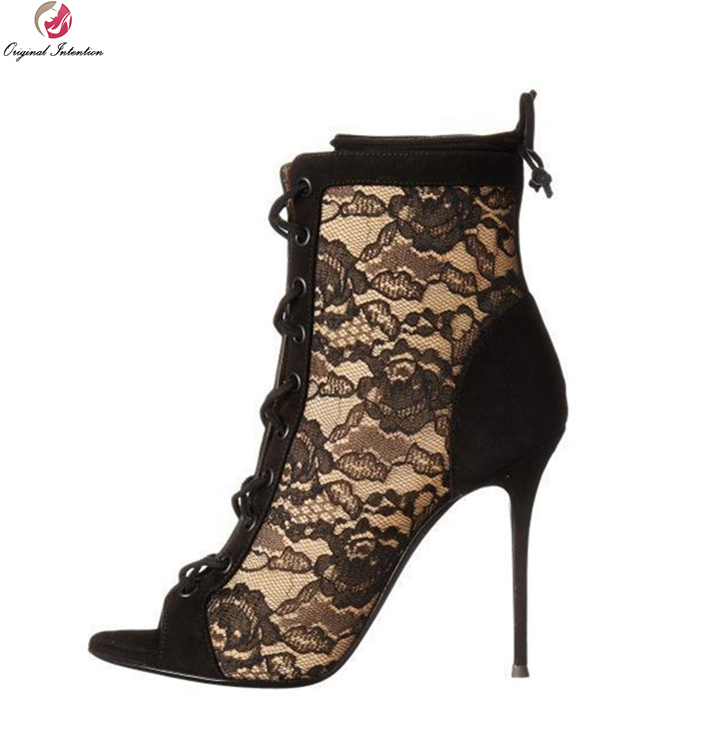 Original Intention Nice Sexy Women Ankle Boots Lace Peep Toe Thin High Heels Boots Stylish Black Shoes Woman Plus US Size 3-10.5 ultra thin heels boots sexy peep toe women s shoes 15cm fashion magazine boots black fetish high heel shoes 6 inch ankle boots