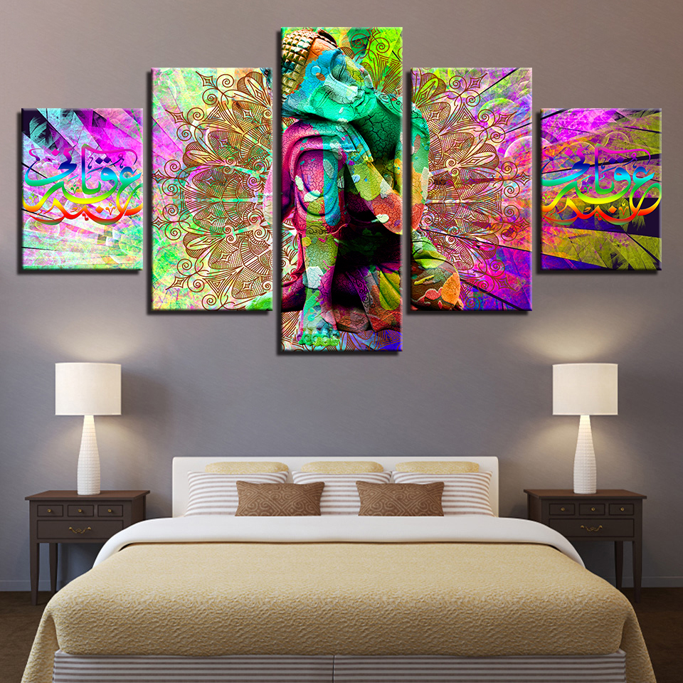 Canvas HD Print Poster Wall Art 5 Pieces Colour Buddha Painting Modular Psychedelic Mandala Hippie Art Pictures Home Decor Frame
