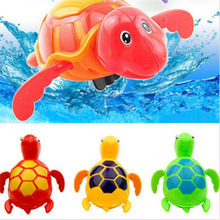 Infant Kids Baby Toys Cute Cartoon Animal Tortoise Classic Water Toy Swim Turtle Wound-up Chain Beach Bath Toys For children(China)