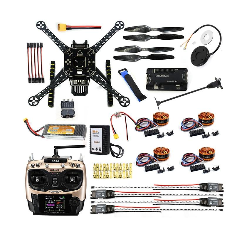 DIY FPV ड्रोन W / AT9S TX RX S600 4 एक्सल क्वाडकॉप्टर APM 2.8 फ्लाइट कंट्रोल GPS 7M 40A ESC 700kv मोटर 4400MAH बैटरी फुल सेट