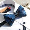 Новый Бесплатная Доставка моды случайные мужские мужской Ручной синий зеленый медь перо свадьба галстук-бабочку ПАРТИИ подарок партии Западной европа