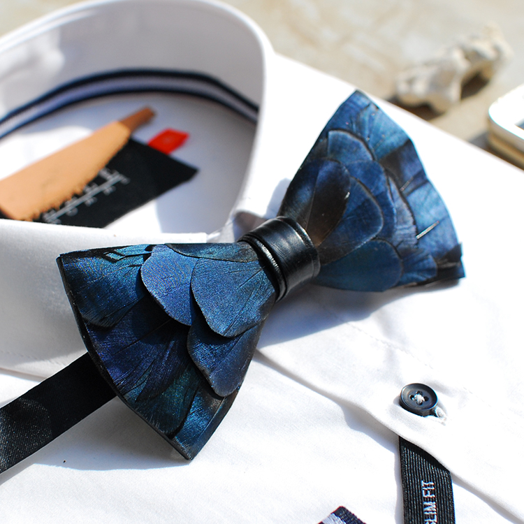 New Free Shipping fashion casual Men's male Handmade blue green copper feather wedding bow tie PARTY gift party Western headwear