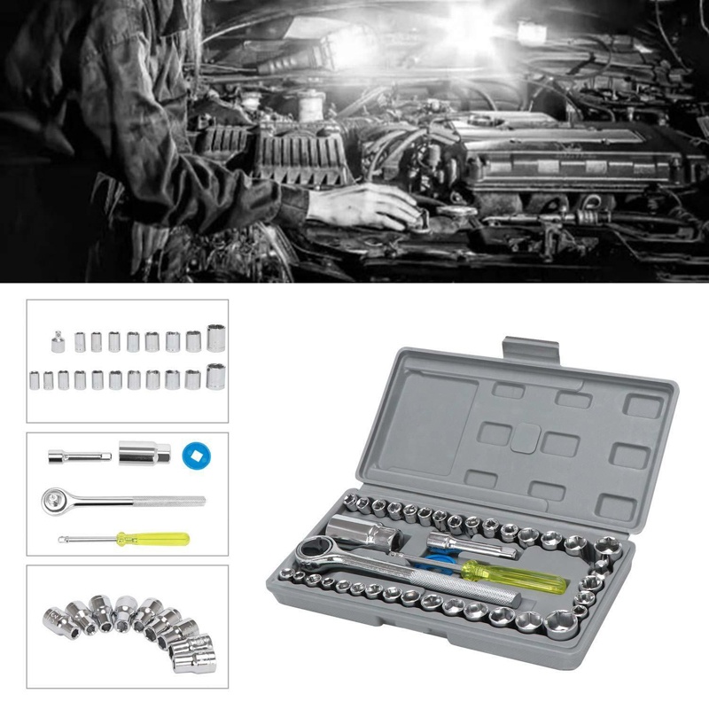40 Pieces Set Of Wrench Sleeve Tool Motorcycle Repair Car Sleeve Combination Car Screw Removal Installation Tool