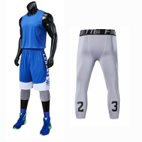 College Basketball Jerseys Men Sports Sets 3pcs Shirt+Shorts+tight Pants Sleeveless Training Blank Basketball Uniforms 5XL