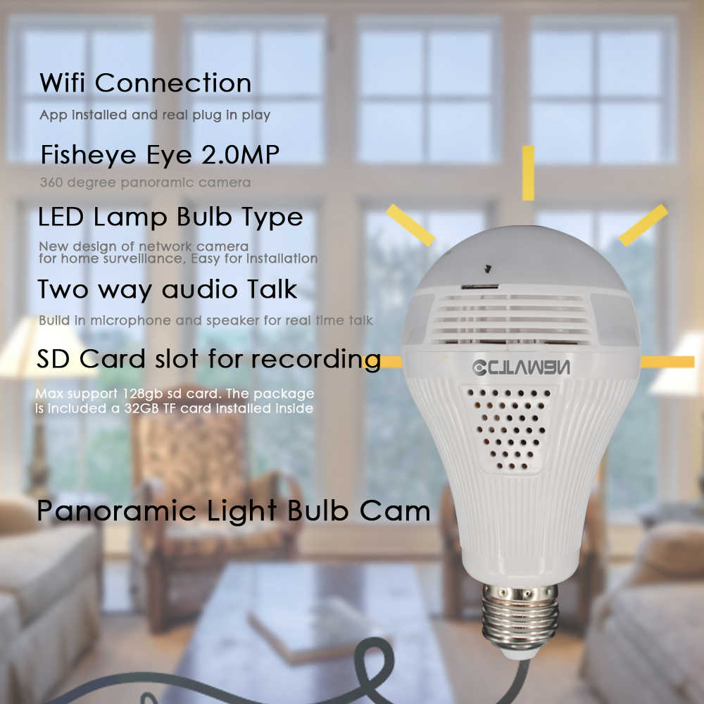 CTVMAN Security Bulb Camera 1080P with 32GB SD Card Wireless HD Fisheye 360 Panoramic Dome Wireless Cams For Home Surveillance